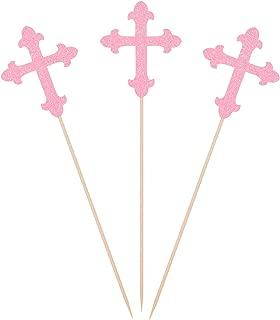 Pink Glitter Cross Centerpiece Sticks for Baptism Christening Party Decorations - Set of 10