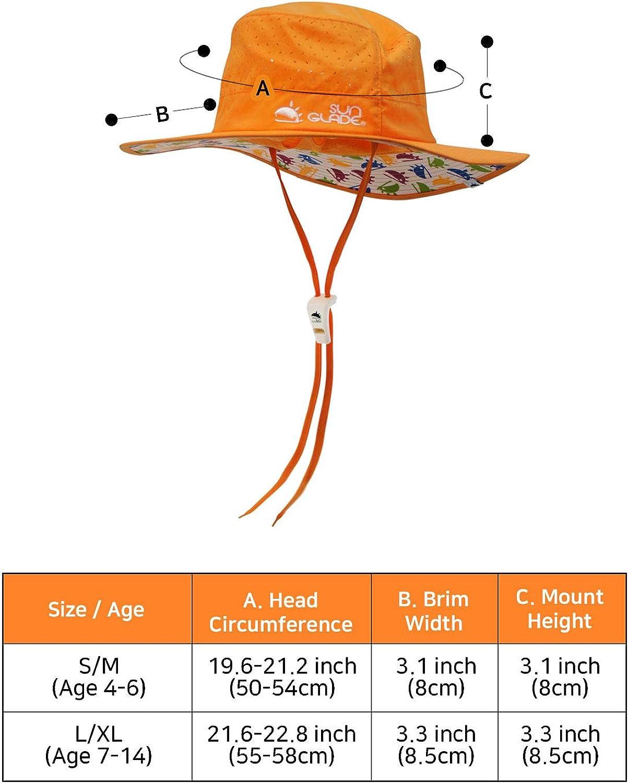 Kids Sun Hat Wide Brim Bucket Sunhats with Wire Ponytail Chin Strap Sun Protection Kids Sun Hat Boys Girls