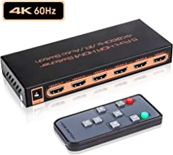 4K@60Hz HDMI 2.0 Switch 5x1, ROOFULL 5 Ports 4K HDMI Switcher with IR Remote Support Auto-Switch, HDR, HDCP 2.2, Dolby Vision, 1080P/3D, Compatible for PS4 Pro, Xbox, Fire TV, Apple TV (5 in 1 Out)