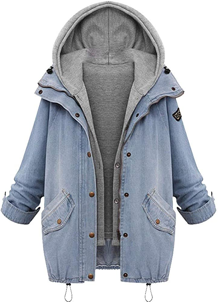 Forwelly Winter Oversize Denim Jacket Hooded for Women Fashion Solid Long Sleeve Jean Jacket Long Zipper Coat M-4XL