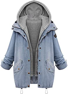 56a724c3c1afa iYYVV Winter Womens Warm Denim Hooded Coat Patchwork Trench Jacket Parka  Jeans Outwear