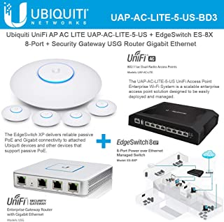 UniFi AP AC LITE UAP-AC-LITE-5-US with EdgeSwitch ES-8X Switch 8-Port and Security Gateway USG Router Gigabit Ethernet Site-to-Site VPN