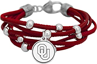 Oklahoma Sooners Multi Line Red Leather Bracelet Jewelry Licensed OU Gift