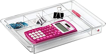 mDesign Organizador de Escritorio Extensible – Útil Bandeja de Oficina para Mesa de despacho o cajón – con divisiones para marcadores, Notas Adhesivas, Clips, etc. – Ampliable hasta 47 cm de Ancho