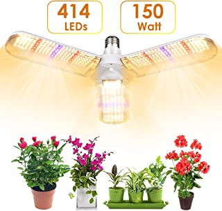 LVJING 150w LED Grow Light Bulb with 414 LED's Foldable Sunlike Full Spectrum Grow Lights for Indoor Plants, Vegetables,Greenhouse & Hydroponic Growing, Grow lamp with Protective Lens   E26/E27 Socket