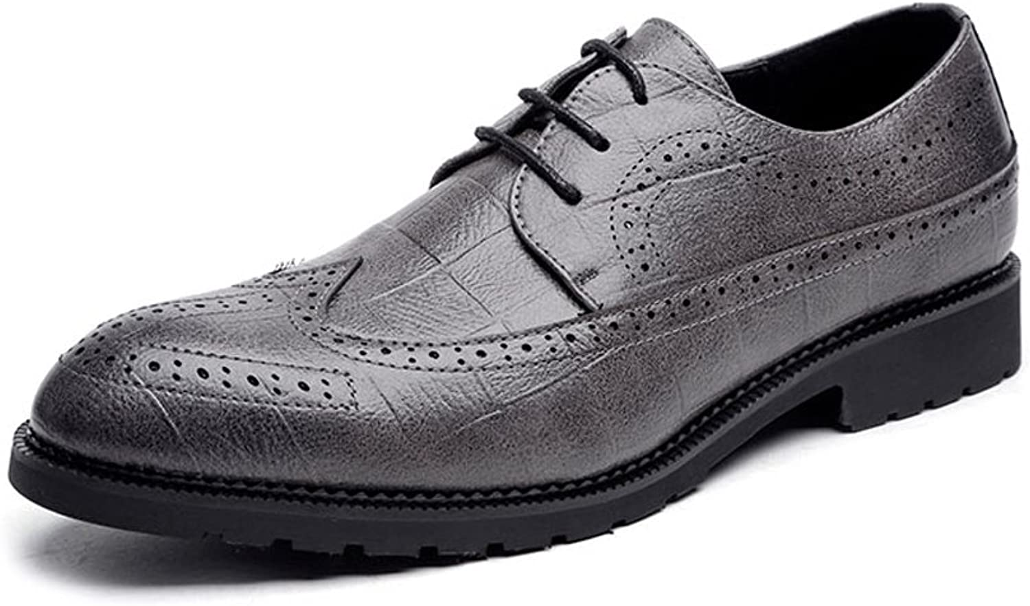 CHENXD shoes, Men's Classic Lace Up Breathable PU Leather Brogue shoes Business Lined Oxfords Formal shoes