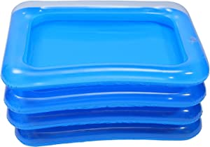 DOITOOL 4Pcs Inflatable Serving Bars, Ice Buffet Salad Serving Trays Cooler, Food Fruit Drink Containers, Floating Beverage Tray Ice Food Server Indoor Outdoor Picnic Pool Party Supplies
