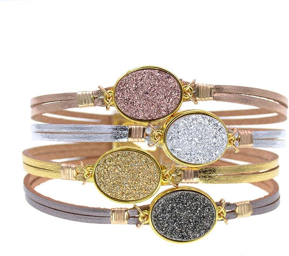 half Metal Charm Bracelets Leather For Men's Wrap Women Bra Time sale