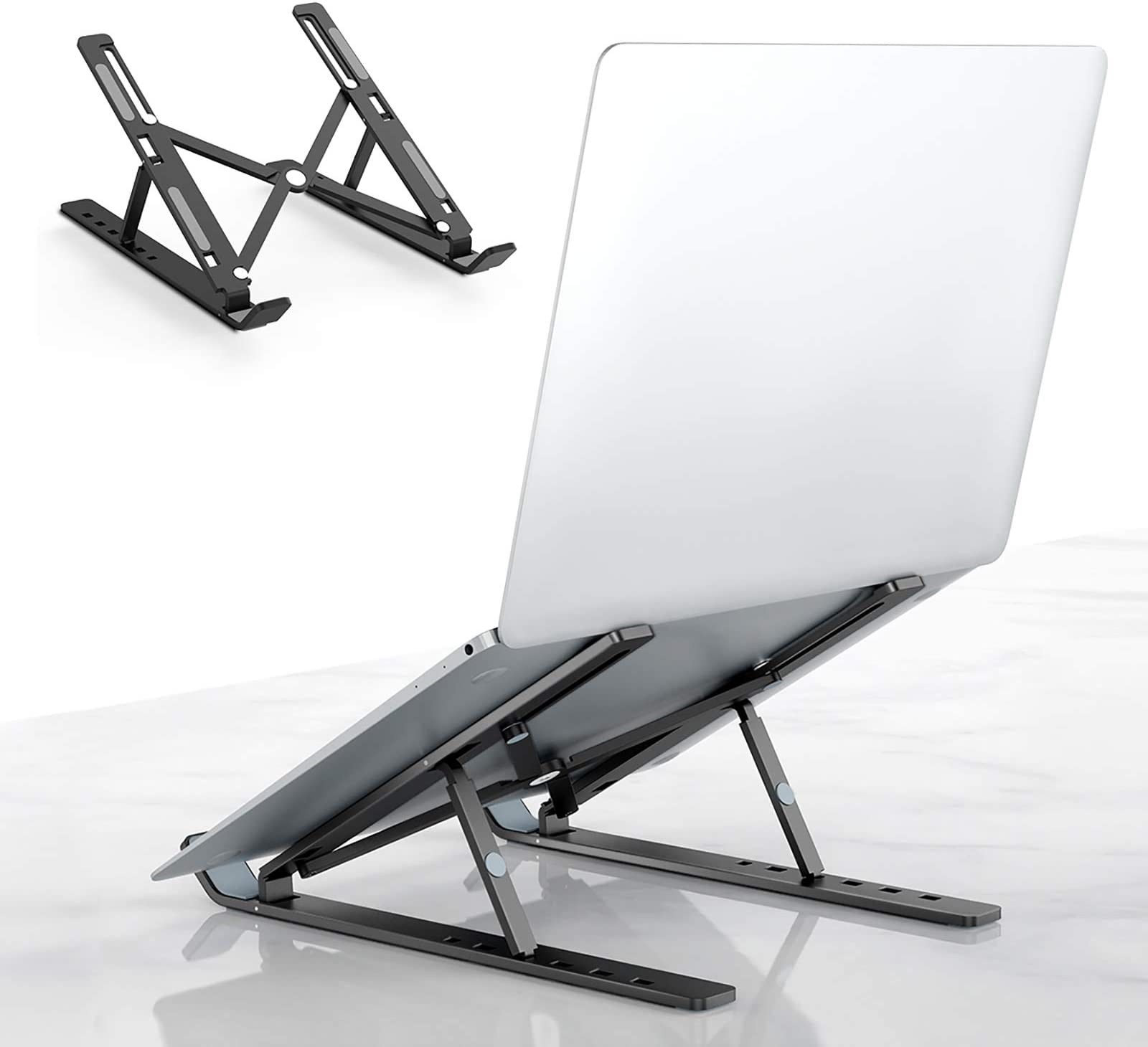 """Laptop Tablet Stand, Universal Lightweight Adjustable Aluminum Laptop Computer Stand, Ergonomic Foldable Portable Desktop Tray Cooling Holder Compatible with Dell, HP and 10""""-15.6"""" Devices (Black)"""