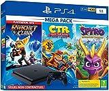 Contient : La PS4 500 Go noire et une manette DS4 noire Les jeux Ratchet & Clank, Spyro Reignited Trilogy et Crash Team Racing: Nitro Fueled