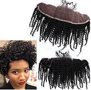 8A Unprocessed Peruvian Deep Kinky Curly Lace Closure 13x4 Virgin Human Hair 3/Three Part Cheap Swiss Lace Closures Bleached Knots 12