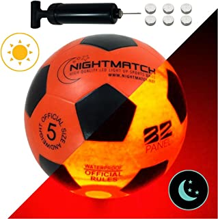 Light Up LED Soccer Ball - Official Size 5 - Extra Pump...