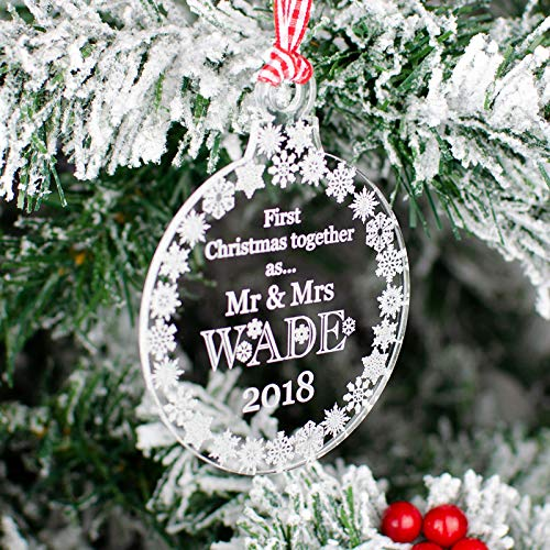 Rustic Charm Christmas Tree Decoration Personalised Clear Acrylic Bauble. 1st First Xmas Together Gift With Engraved Surname. Snowflakes Decor.