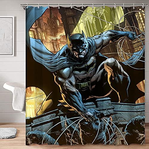 Schicker Stoff-Duschvorhang, Superheld, Batman, fliegt in den Ruinen, Stoff, Duschvorhang für Badewanne, 123 x 183 cm