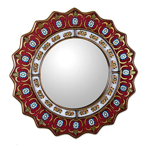 Novica Red Reverse Painted Glass Wood Framed Decorative Star Wall Mirror From Peru 'Ruby Medallion' (Large)