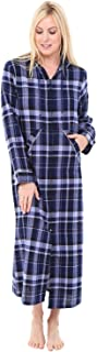 Womens Hooded Flannel Robe with Zipper, Lightweight Cotton House Coat