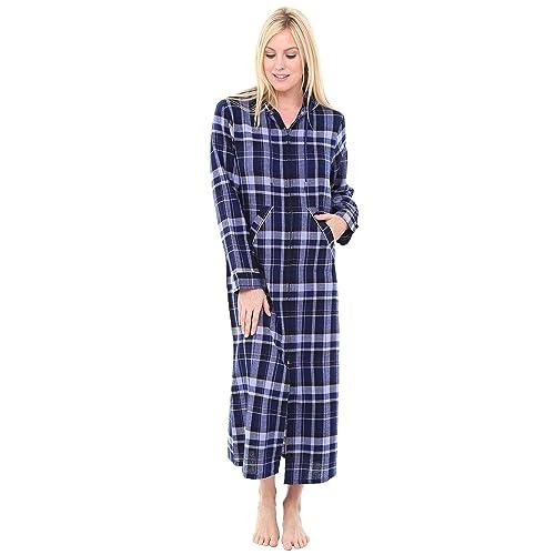 Alexander Del Rossa Womens Hooded Flannel Robe with Zipper eaab3e732