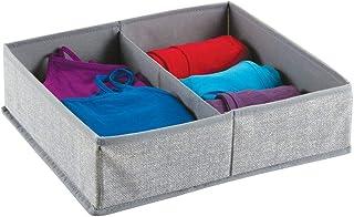 mDesign – Caja organizadora de tela (2 compartimentos) – Precioso organizador para ropa interior y accesorios – Cesta para...