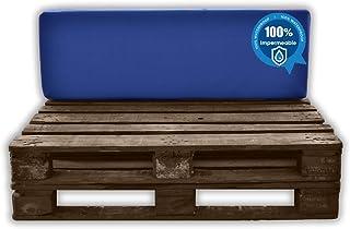 MICAMAMELLAMA Respaldo para Sofá de Palet Exterior e Interior - Funda Azul Nautico - Espuma HR Alta Densidad - Grosor 12cm