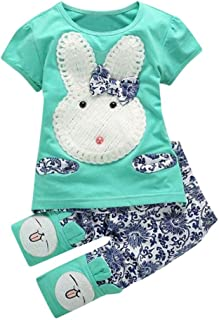 Baby Girls Short Sleeve Cute Rabbits T-Shirt Tops +Floral Print Pants Bunny Outfit Set Clothes
