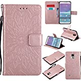 A-slim Galaxy Note 4 Wallet Case, (TM) Sun Pattern Embossed PU Leather Magnetic Flip Cover Card Holders & Hand Strap Wallet Purse Case for Samsung Galaxy Note 4 - Rose Gold