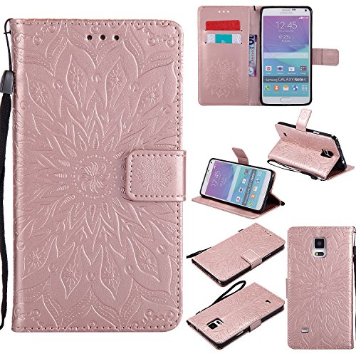 Galaxy Note 4 Case,Note 4 Wallet Case,Samsung Note 4 Flip Case PU Leather Emboss Mandala Sun Flower Folio Magnetic Kickstand Cover with Card Slots for Samsung Galaxy Note 4 Rose Gold