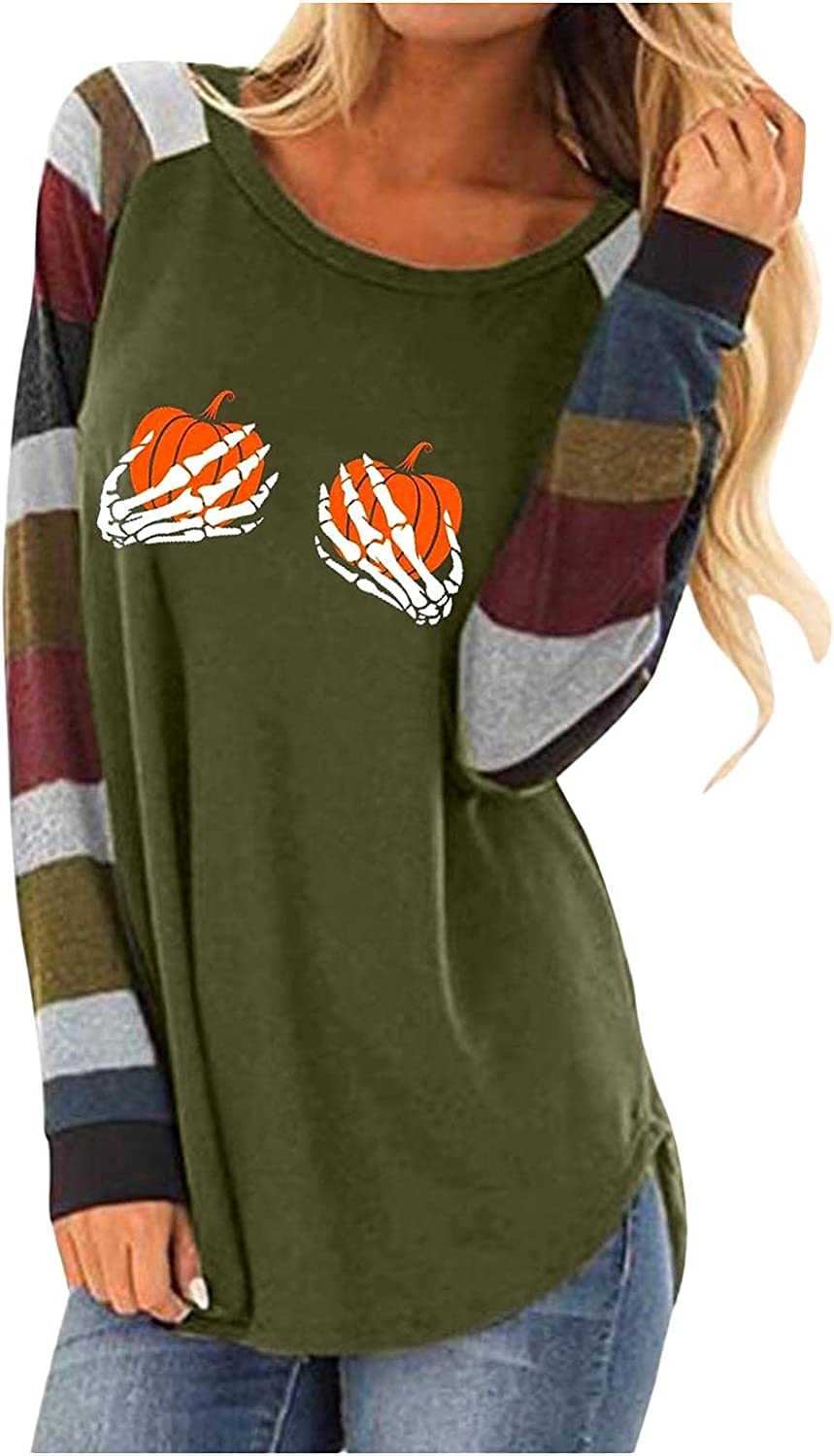 XXBR Halloween Blouses for Womens, Fall Color Block Patchwork Long Sleeve Pumpkin Casual T-shirts Flowy Tunic Tops