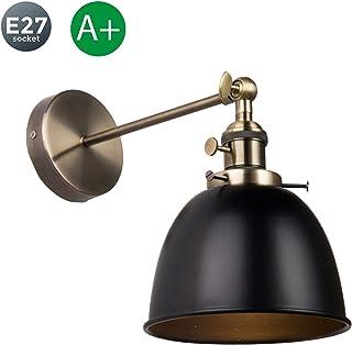 Con interruptor Luz de pared Giratoria Retro Lámpara de pared E27 Base Industrial Redondo Luz para leer Metal Negro Creativo Lámpara de cama Pasillo Sala de estudio Luz interior