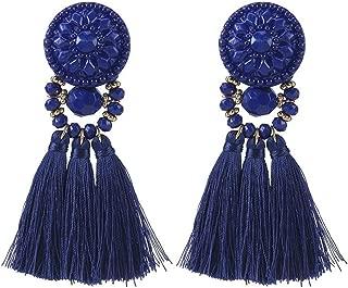 Colorful Beads Thread Ethnic Charms Eardrop Long Tassel Dangle Drop Earrings (Royal Blue)
