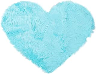 uxcell Heart Shaped Love Soft Faux Sheepskin Fur Plush Area Rugs for Home Living Room Sofa Floor Mat Bedroom 2.3ftx3ft, Light Blue