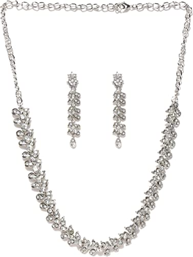 Zaveri Pearls Twinkling Leaf Twigs Austrain Diamnond Necklace SetÃ' for Women-ZPFK460