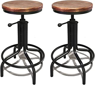 Lisuden Set of 2 Industrial Height Adjustable Bar Stool Swivel Wood Seat Stool Metal Counter Height Bar Chair for Kitchen Black