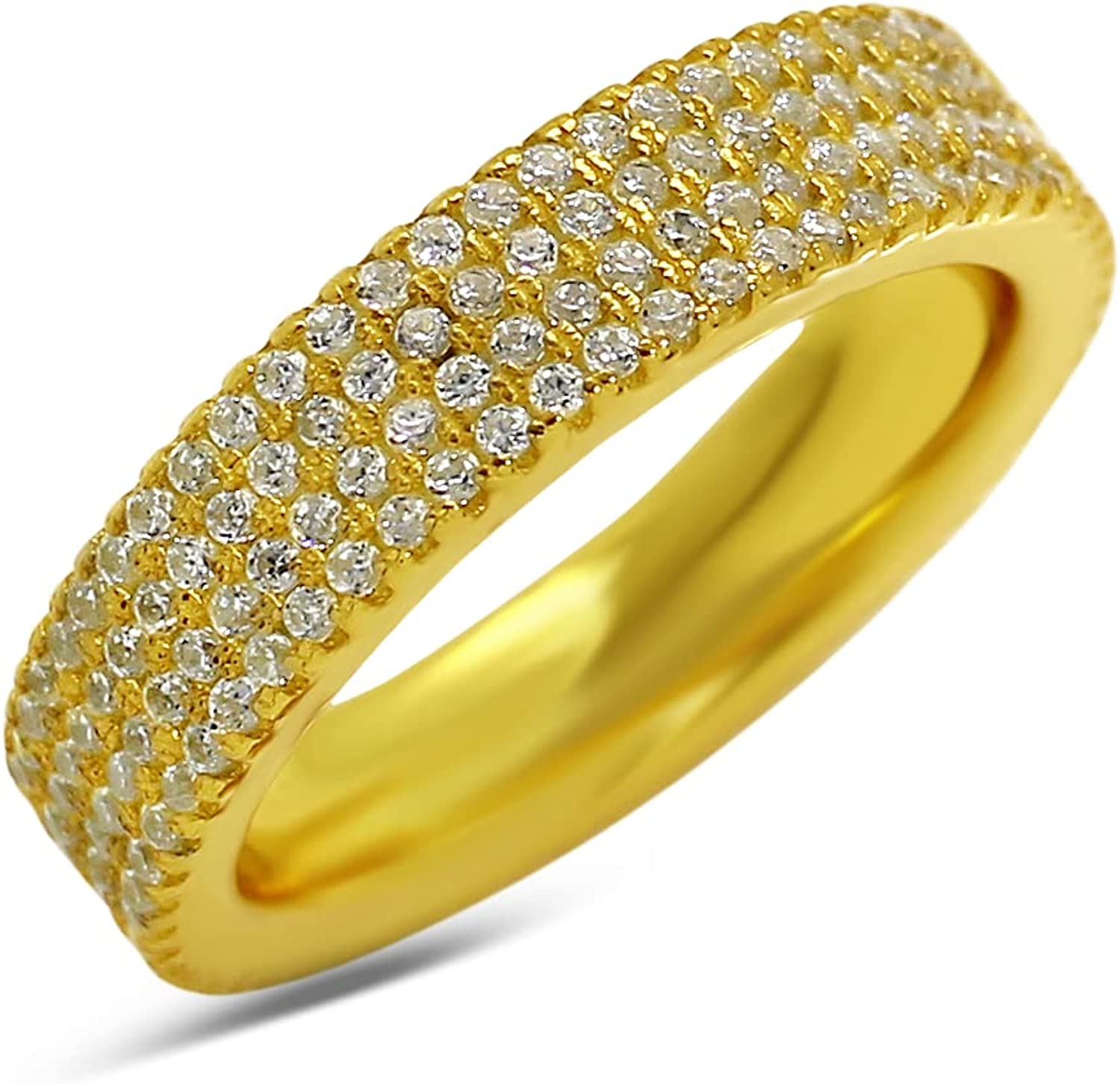 16K Gold Cubic Zirconia Over item handling Gemstone Wo Eternity for Engagement Ring Max 73% OFF