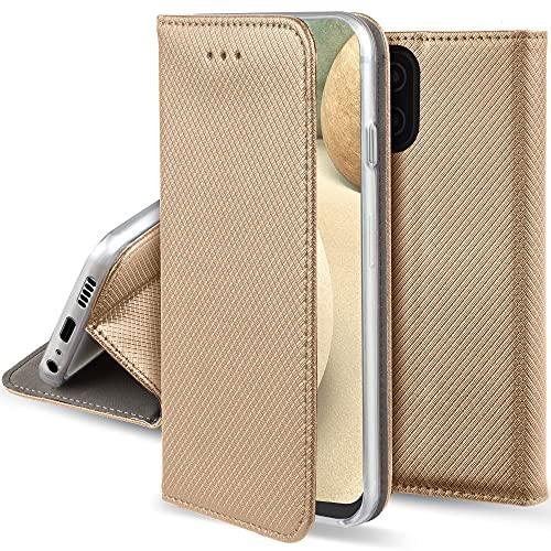 Moozy Funda para Samsung A12, Oro - Flip Cover Smart Magnética con Soporte y Cartera para Tarjetas