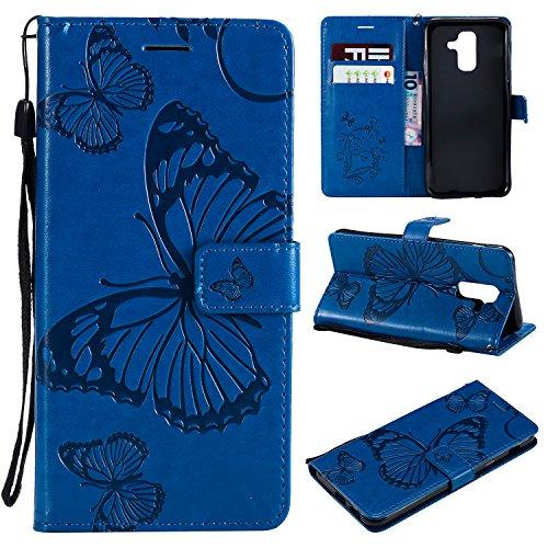 Hülle für Galaxy A6+ (A6 Plus) Hülle Leder,[Kartenfach & Standfunktion] Flip Case Lederhülle Schutzhülle für Samsung Galaxy A6+ 2018 - EYKT040167 Blau