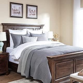 Elegant Life Modern Modal Cotton Jersey Chevron Stitched Bedding Quilt, Oversized King 106'' x 92'', Gray