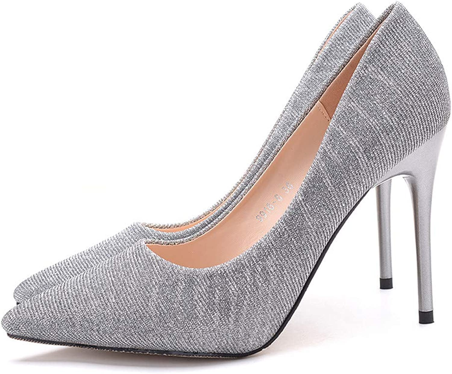 Meiren Sequined Single shoes Women's High Heel Pointed Stiletto gold Sexy High Heel shoes