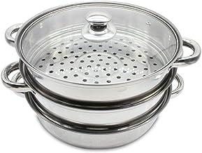 MINUS ONE Cuiseur Vapeur à 3 Niveaux, Cuiseur Vapeur en Acier Inoxydable de 28CM, Compatible avec cuisinière à gaz, Four, ...