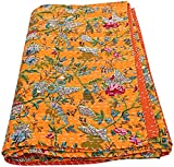 Bhagyashri Fashions Indian Handmade Orange Paradise Floral Print Fabric Kantha Quilt Tribal Bed Cover Reversible Bedspread Blanket Coverlet 90x60 Inches