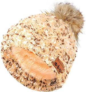 Pococina Upgraded 4.2 Bluetooth Beanie Hat Pom Pom Winter Knit Music Hat Cap Wireless Headphones Bluetooth Hat with Stereo Speaker Built-in Mic Birthday Gifts for Women Teen Girls - 023 Beige