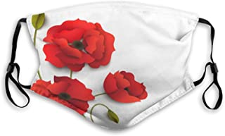 Fashion Activated Carbon Windproof Mask,Poppy Flowers Vivid Petals With Buds Pastoral Purity Mother Earth Nature Design,Fa...