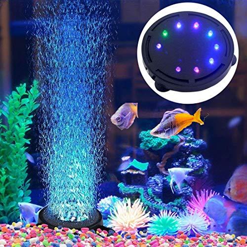 5 inch 12 LED Aquarium Air Stone Bubble Light, Submersible Fish Tank Air Bubbler LED Light Air Pump Bubble Stone Lamp for Turtle Fish Tank Decoration