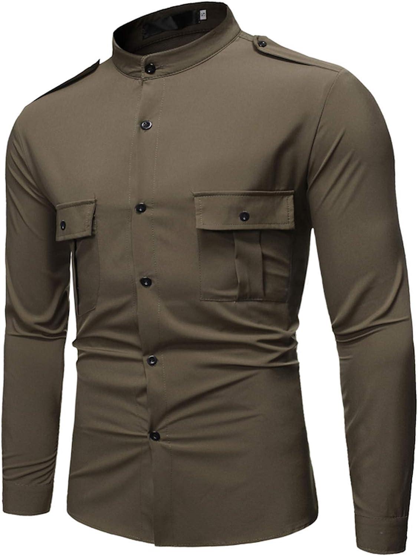 Rela Bota Men's Outdoor Long Sleeve Button Down Shirt Fashion Solid Work Shirt