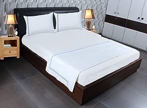 SFERRA Fitted Bedsheet with Pillowcases & Flat Sheet Queen White Cornflower Blue