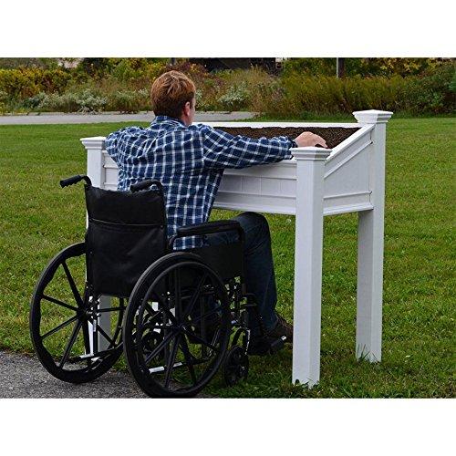 Vita Gardens VA68240 Liberty Accessible Planter Vinyl Raised Garden, White