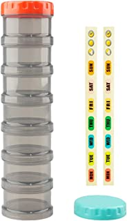 Sponsored Ad - 7 Day Pill Organizer Case Stackable Weekly Supplements Vitamins Pills Holder Dispenser Large Translucent Bl...