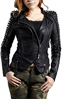 She'sModa Women's Studded Faux Leather Motorcycle Jacket Double Lapels Zipper Dovetail Winter Coat Black