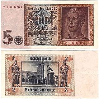 1942 DE NAZI 5 MARK BILL w ARYAN TEEN (HITLER YOUTH), SWASTIKA - HISTORIC WW2 CURRENCY! 5 REICHSMARK VF+