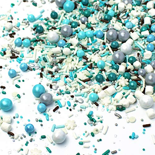 Marshmallow World| Snowflakes Chocolate Brown Light Blue Teal White Christmas Colorful Candy Sprinkles Mix For Baking Edible Cake Decorations Cupcake Toppers Cookie Decorating Ice Cream Toppings, 4OZ