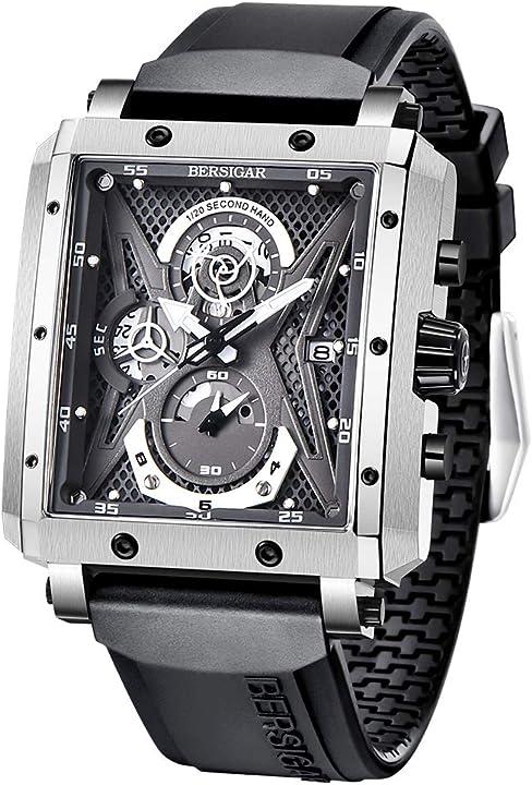 Orologio rettangolare per uomo cinturino in silicone cronografo impermeabile per uomo sportivo JJBG1657-1